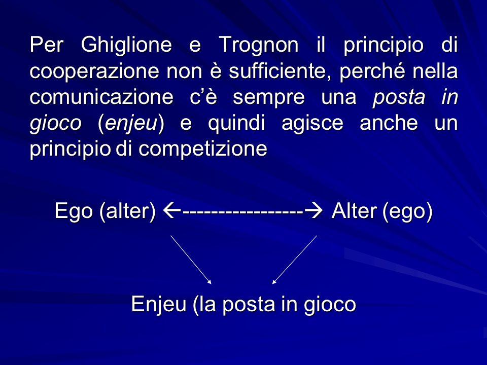 Per Ghiglione e Trognon il principio di cooperazione non è sufficiente, perché nella comunicazione c'è sempre una posta in gioco (enjeu) e quindi agis