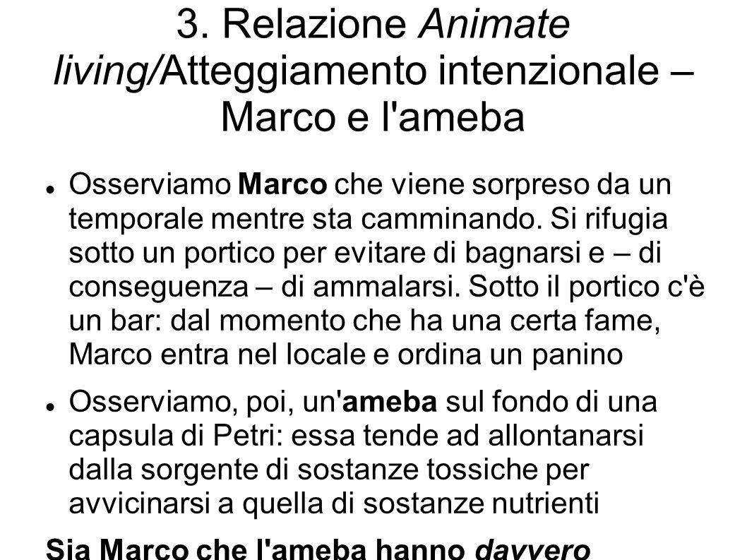 3. Relazione Animate living/Atteggiamento intenzionale – Marco e l'ameba Osserviamo Marco che viene sorpreso da un temporale mentre sta camminando. Si