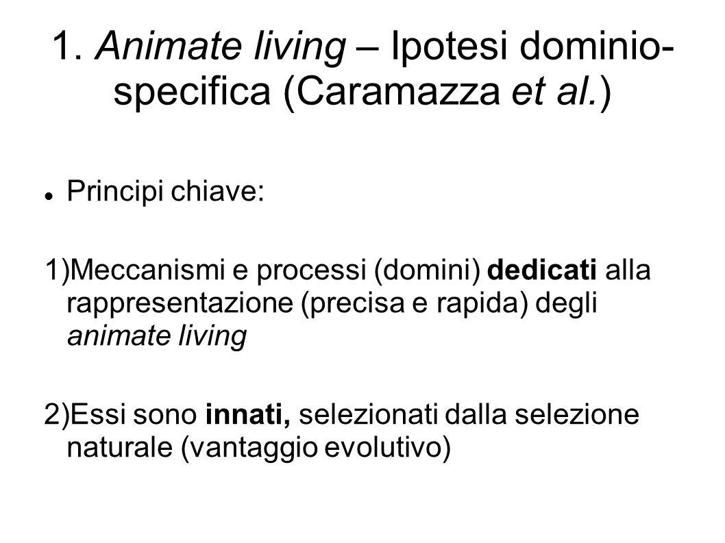 1. Animate living – Ipotesi dominio- specifica (Caramazza et al.) Principi chiave: 1)Meccanismi e processi (domini) dedicati alla rappresentazione (pr