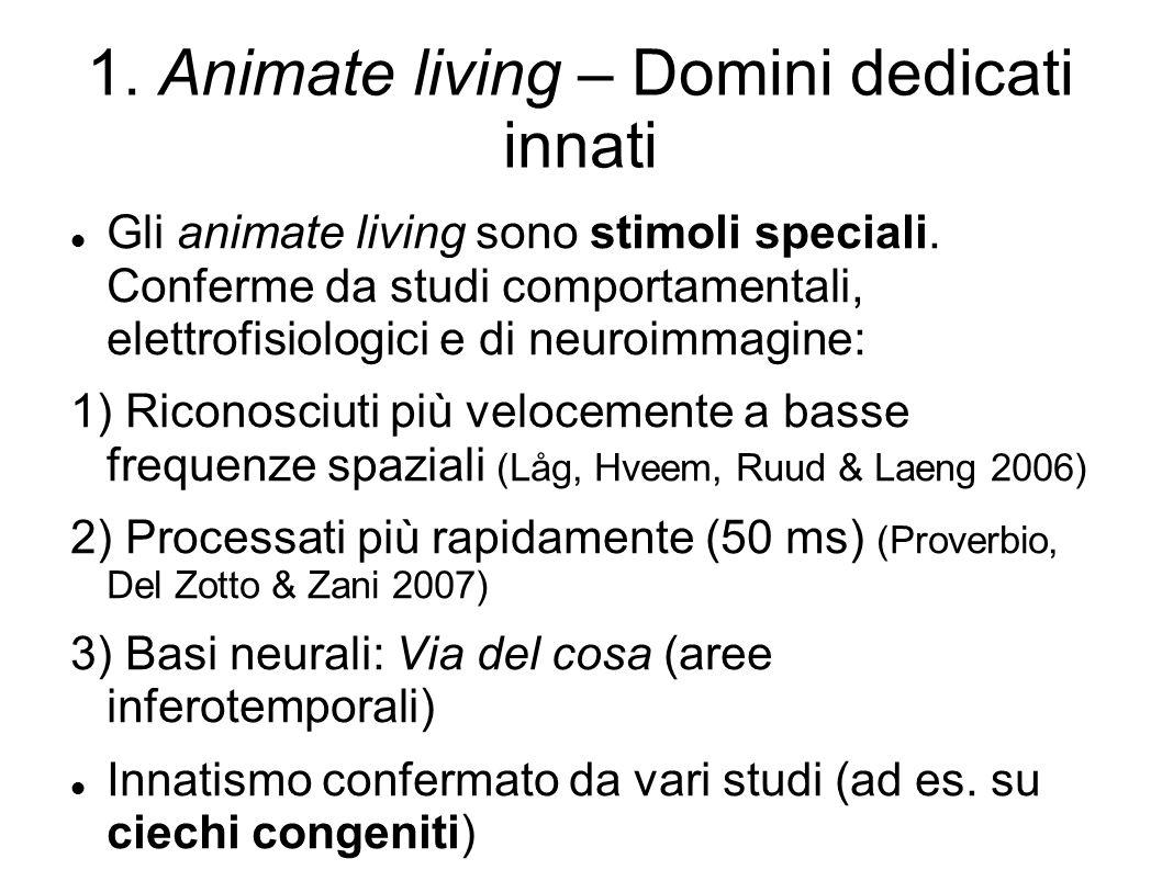 1.Animate living – Domini dedicati innati Gli animate living sono stimoli speciali.