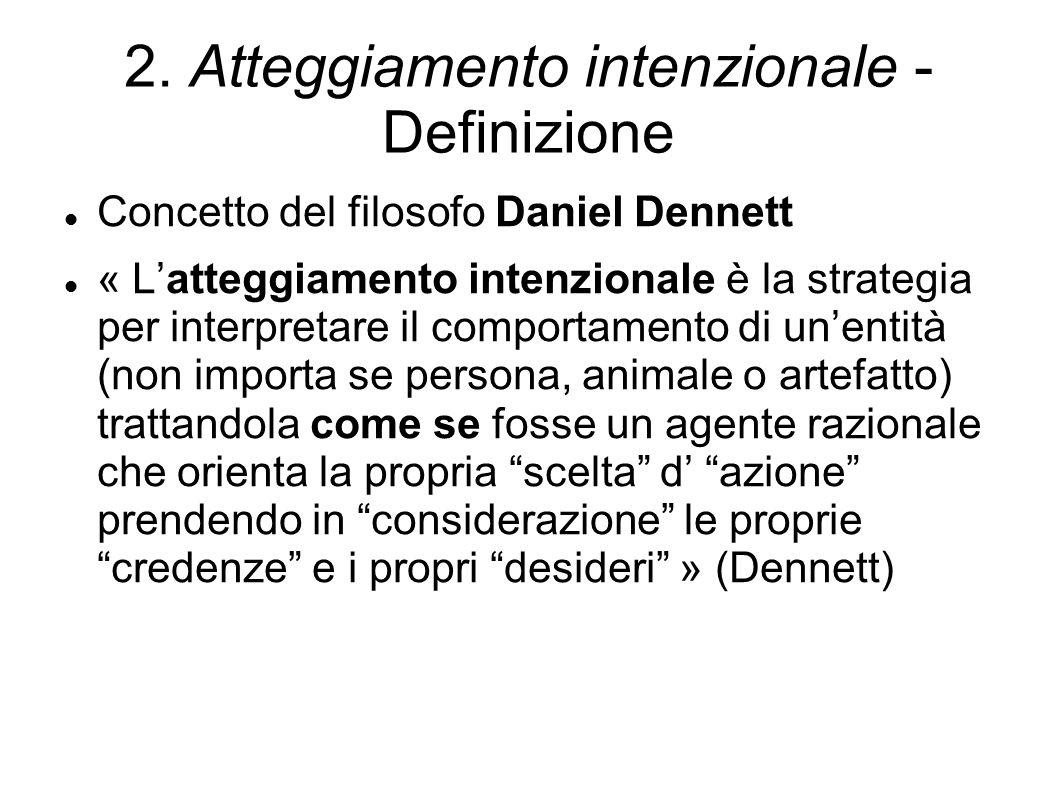 2. Atteggiamento intenzionale - Definizione Concetto del filosofo Daniel Dennett « L'atteggiamento intenzionale è la strategia per interpretare il com