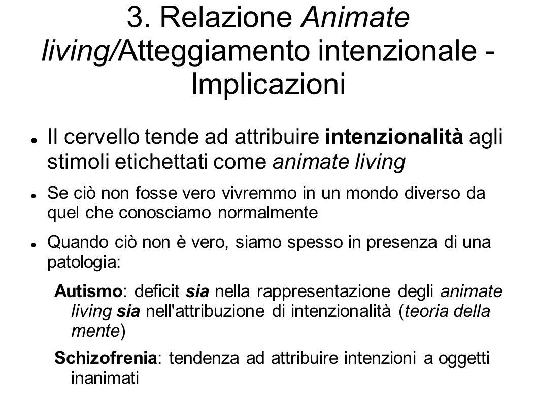 3. Relazione Animate living/Atteggiamento intenzionale - Implicazioni Il cervello tende ad attribuire intenzionalità agli stimoli etichettati come ani