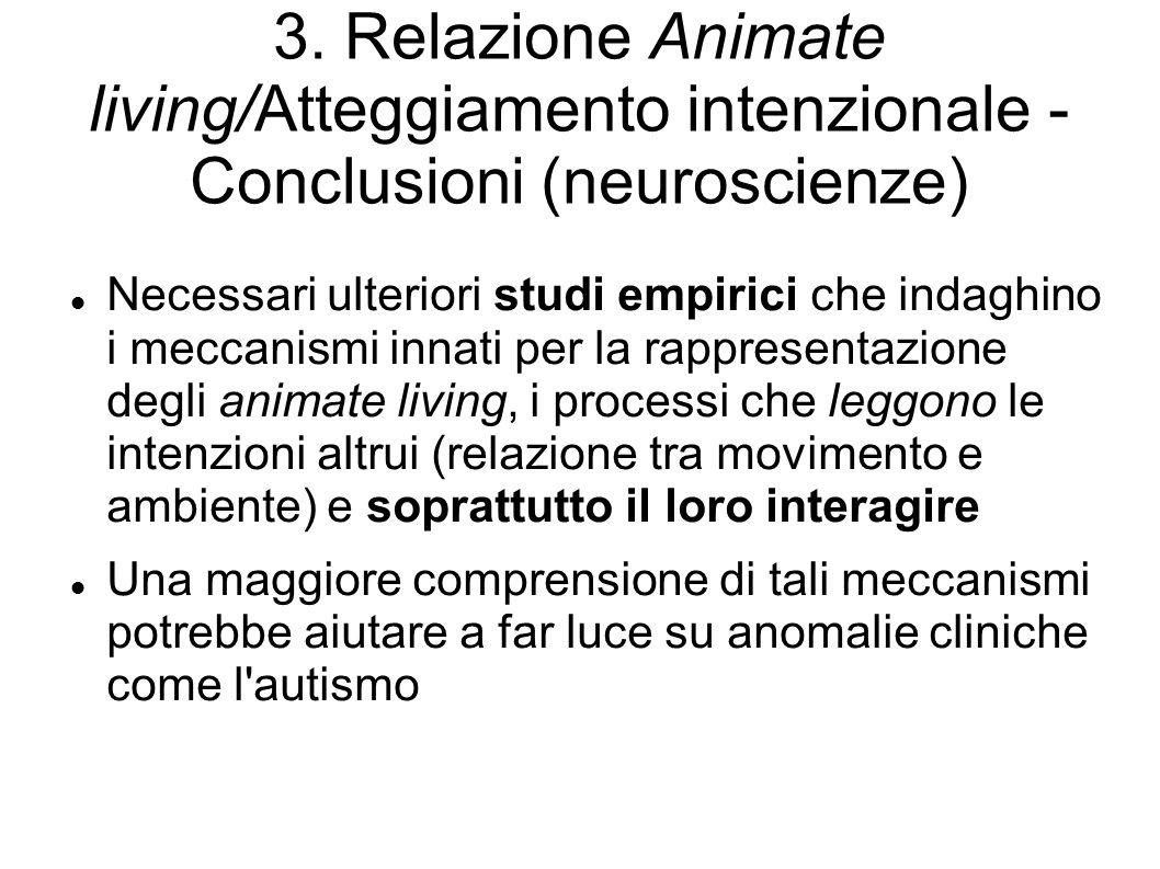 3. Relazione Animate living/Atteggiamento intenzionale - Conclusioni (neuroscienze) Necessari ulteriori studi empirici che indaghino i meccanismi inna