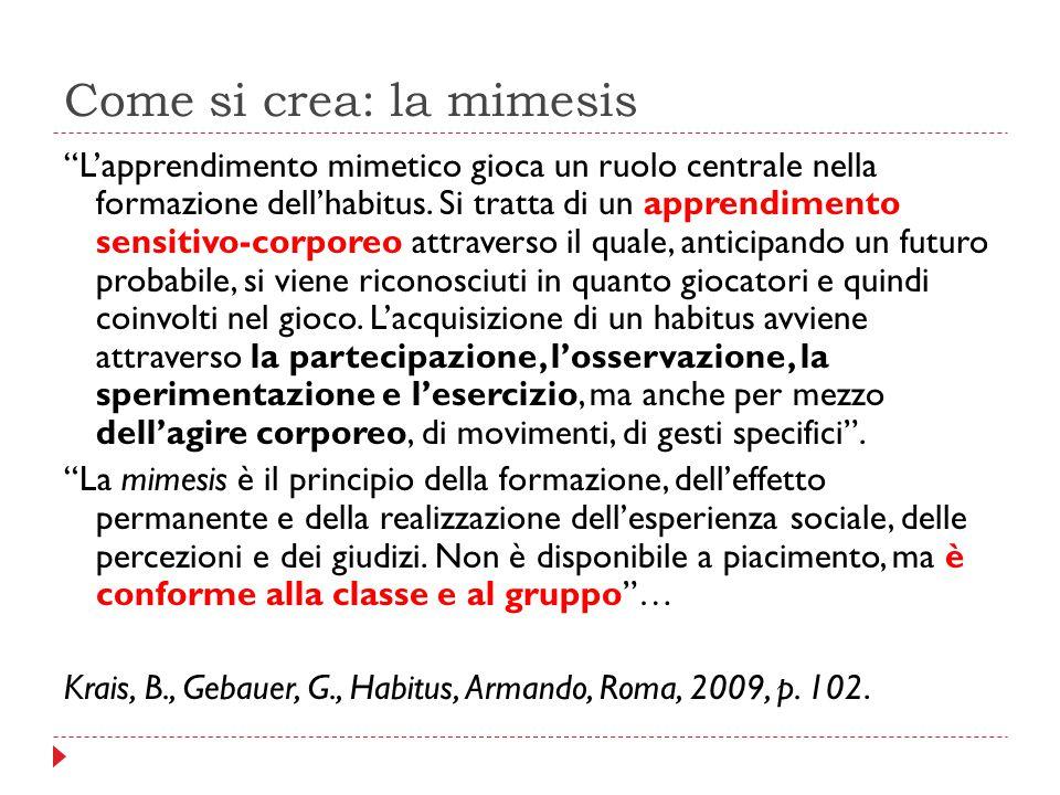 """Come si crea: la mimesis """"L'apprendimento mimetico gioca un ruolo centrale nella formazione dell'habitus. Si tratta di un apprendimento sensitivo-corp"""