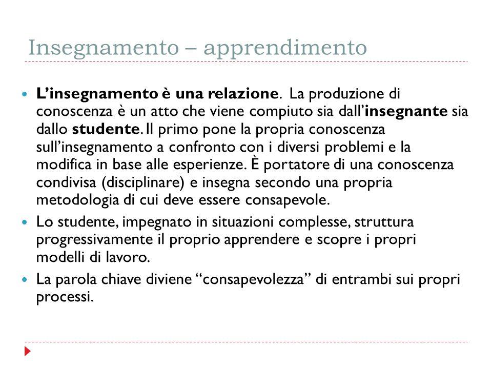 Insegnamento – apprendimento L'insegnamento è una relazione. La produzione di conoscenza è un atto che viene compiuto sia dall'insegnante sia dallo st