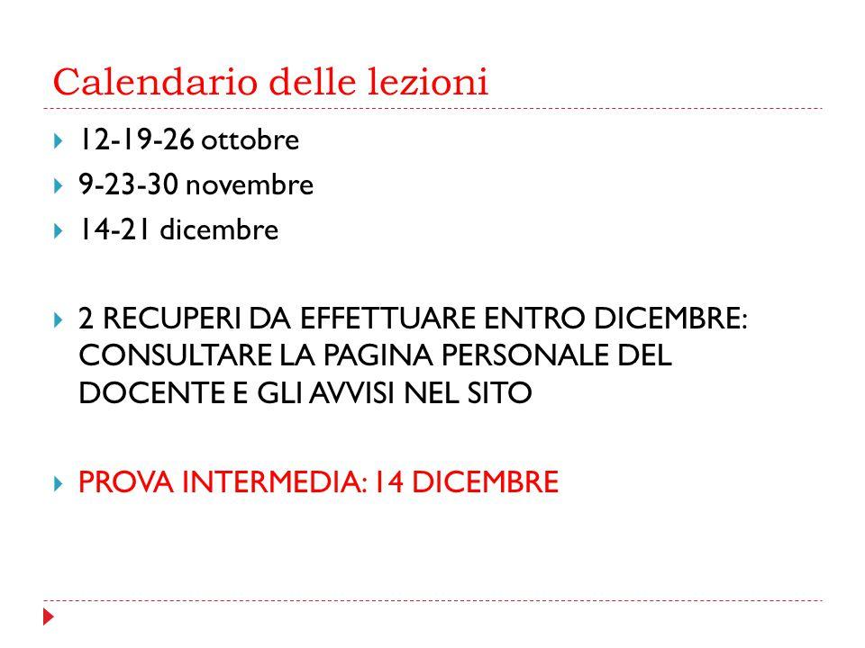 Calendario delle lezioni  12-19-26 ottobre  9-23-30 novembre  14-21 dicembre  2 RECUPERI DA EFFETTUARE ENTRO DICEMBRE: CONSULTARE LA PAGINA PERSON
