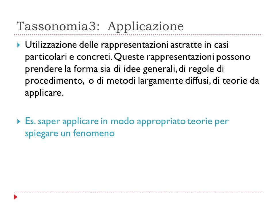 Tassonomia3: Applicazione  Utilizzazione delle rappresentazioni astratte in casi particolari e concreti. Queste rappresentazioni possono prendere la