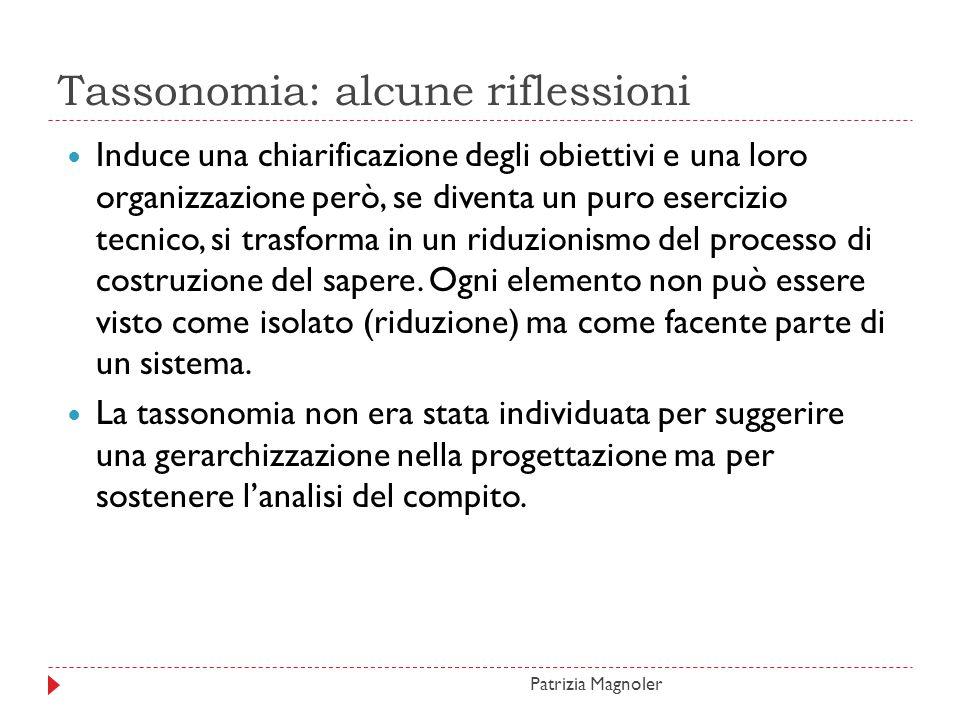 Tassonomia: alcune riflessioni Induce una chiarificazione degli obiettivi e una loro organizzazione però, se diventa un puro esercizio tecnico, si tra