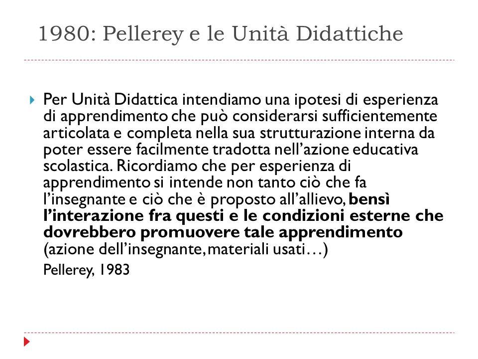 1980: Pellerey e le Unità Didattiche  Per Unità Didattica intendiamo una ipotesi di esperienza di apprendimento che può considerarsi sufficientemente