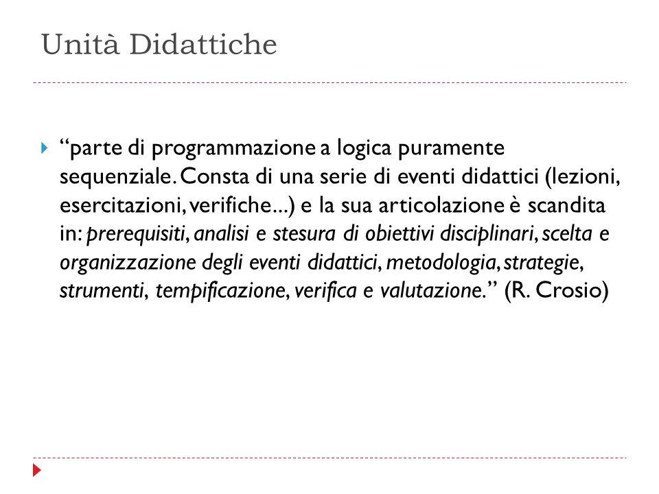 """Unità Didattiche  """"parte di programmazione a logica puramente sequenziale. Consta di una serie di eventi didattici (lezioni, esercitazioni, verifiche"""