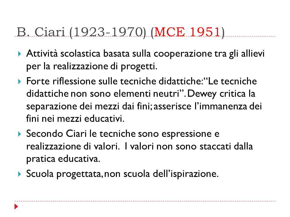 B. Ciari (1923-1970) (MCE 1951)  Attività scolastica basata sulla cooperazione tra gli allievi per la realizzazione di progetti.  Forte riflessione
