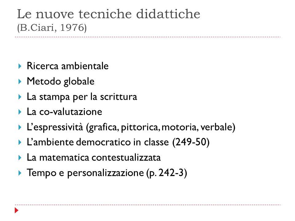 Le nuove tecniche didattiche (B.Ciari, 1976)  Ricerca ambientale  Metodo globale  La stampa per la scrittura  La co-valutazione  L'espressività (