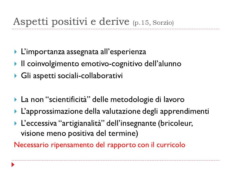 Aspetti positivi e derive (p.15, Sorzio)  L'importanza assegnata all'esperienza  Il coinvolgimento emotivo-cognitivo dell'alunno  Gli aspetti socia