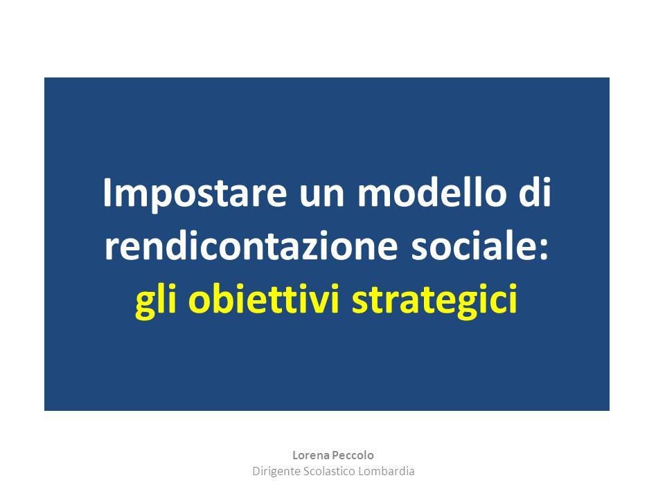 Impostare un modello di rendicontazione sociale: gli obiettivi strategici Lorena Peccolo Dirigente Scolastico Lombardia