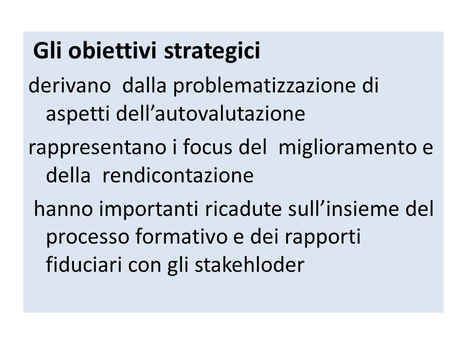 Gli obiettivi strategici derivano dalla problematizzazione di aspetti dell'autovalutazione rappresentano i focus del miglioramento e della rendicontaz