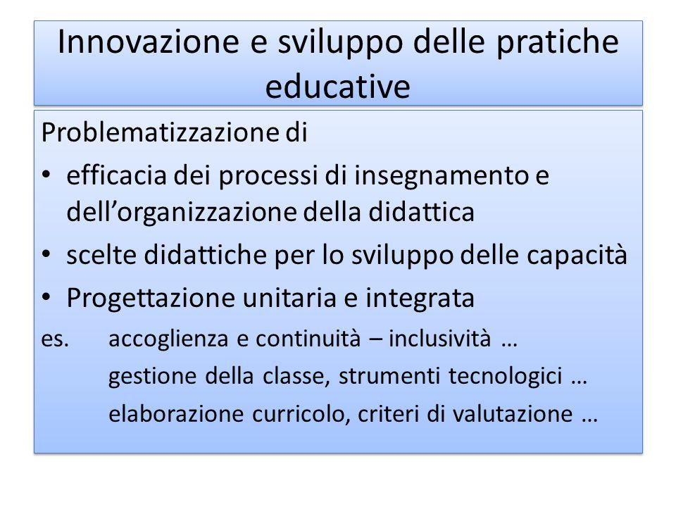 Innovazione e sviluppo delle pratiche educative Problematizzazione di efficacia dei processi di insegnamento e dell'organizzazione della didattica sce