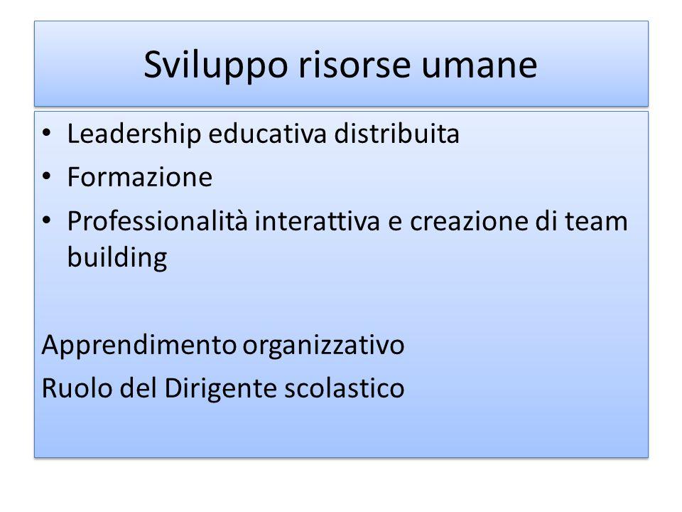 Sviluppo risorse umane Leadership educativa distribuita Formazione Professionalità interattiva e creazione di team building Apprendimento organizzativ