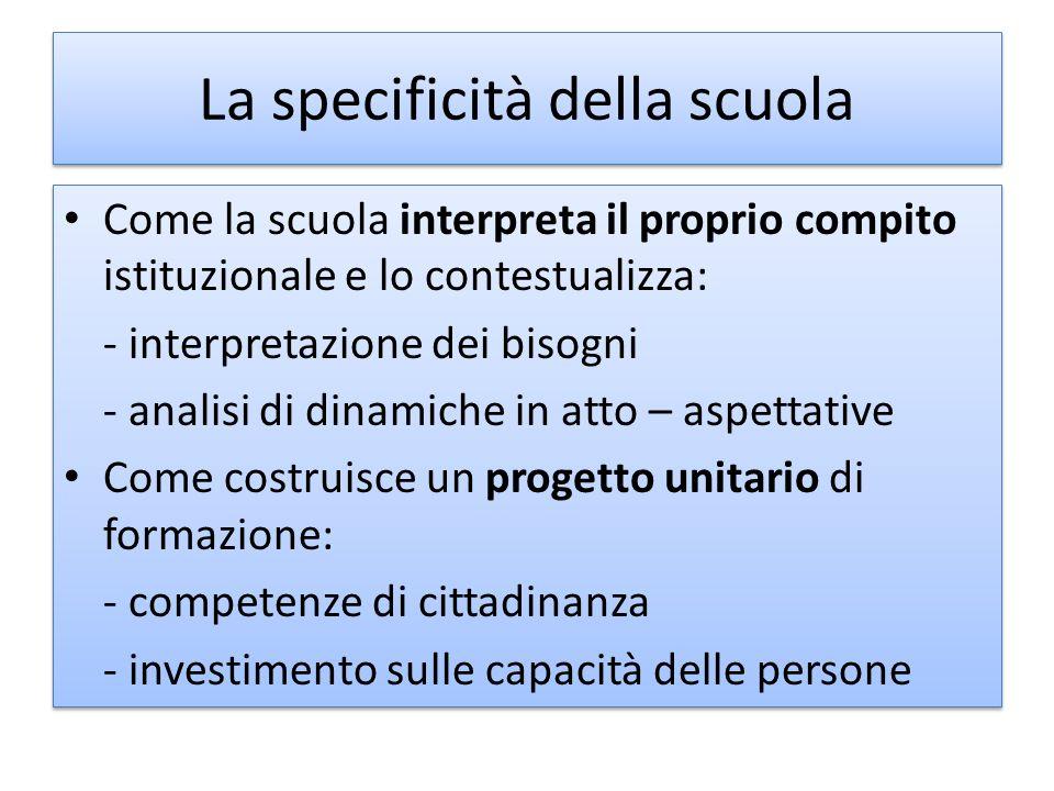 La specificità della scuola Come la scuola interpreta il proprio compito istituzionale e lo contestualizza: - interpretazione dei bisogni - analisi di