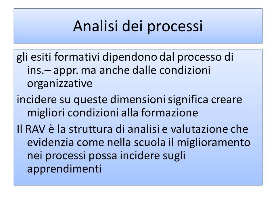 Analisi dei processi gli esiti formativi dipendono dal processo di ins.– appr. ma anche dalle condizioni organizzative incidere su queste dimensioni s