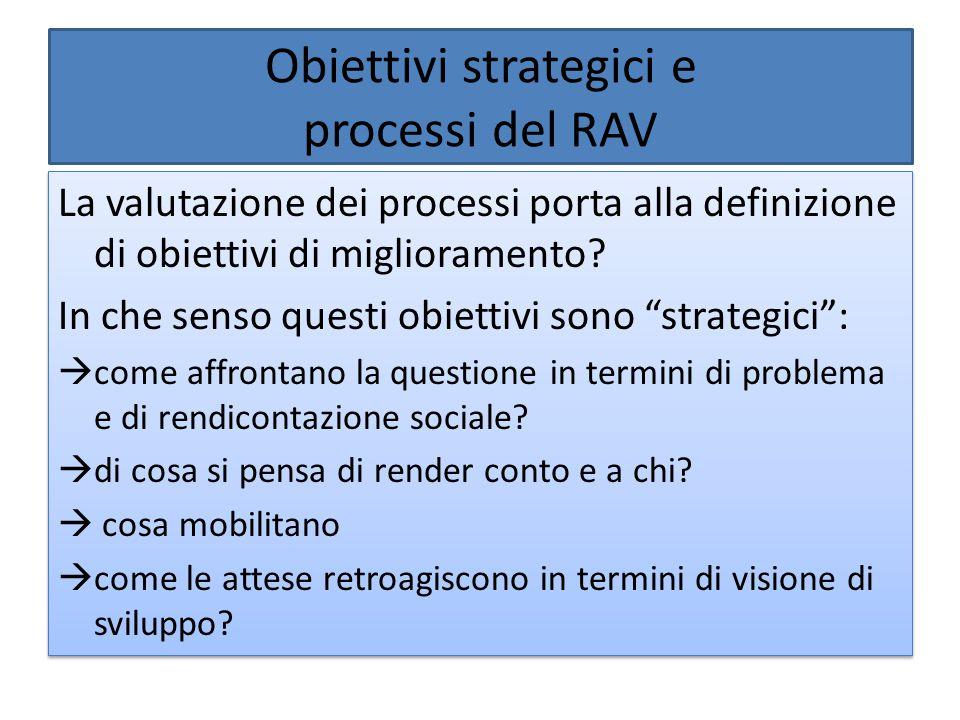 Obiettivi strategici e processi del RAV La valutazione dei processi porta alla definizione di obiettivi di miglioramento? In che senso questi obiettiv