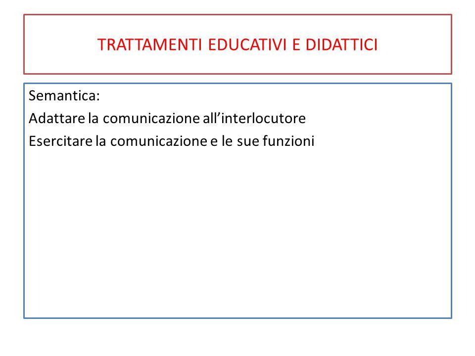 TRATTAMENTI EDUCATIVI E DIDATTICI Semantica: Adattare la comunicazione all'interlocutore Esercitare la comunicazione e le sue funzioni
