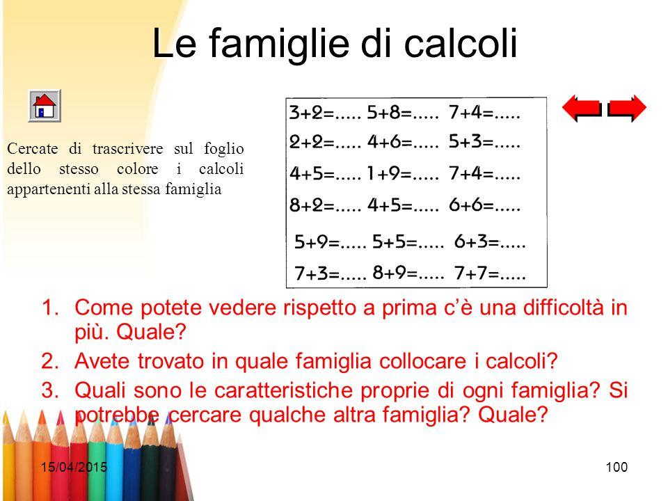 15/04/2015100 Le famiglie di calcoli 1.Come potete vedere rispetto a prima c'è una difficoltà in più. Quale? 2.Avete trovato in quale famiglia colloca