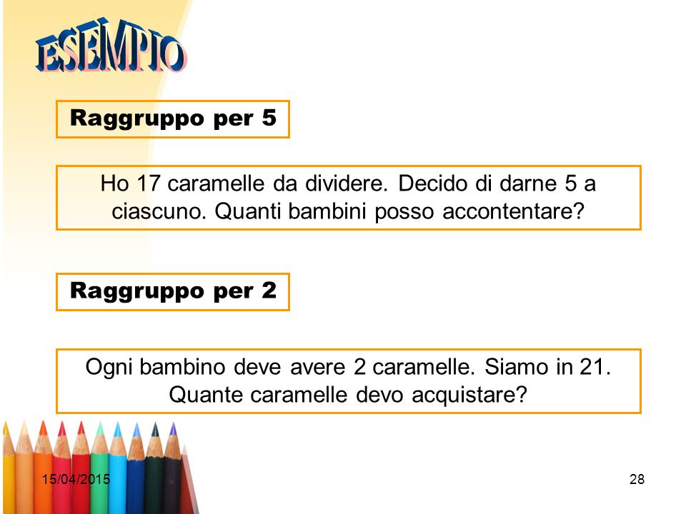 15/04/201528 Raggruppo per 5 Ho 17 caramelle da dividere. Decido di darne 5 a ciascuno. Quanti bambini posso accontentare? Raggruppo per 2 Ogni bambin