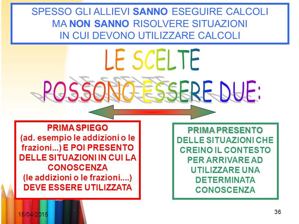 15/04/2015 36 SPESSO GLI ALLIEVI SANNO ESEGUIRE CALCOLI MA NON SANNO RISOLVERE SITUAZIONI IN CUI DEVONO UTILIZZARE CALCOLI PRIMA SPIEGO (ad. esempio l