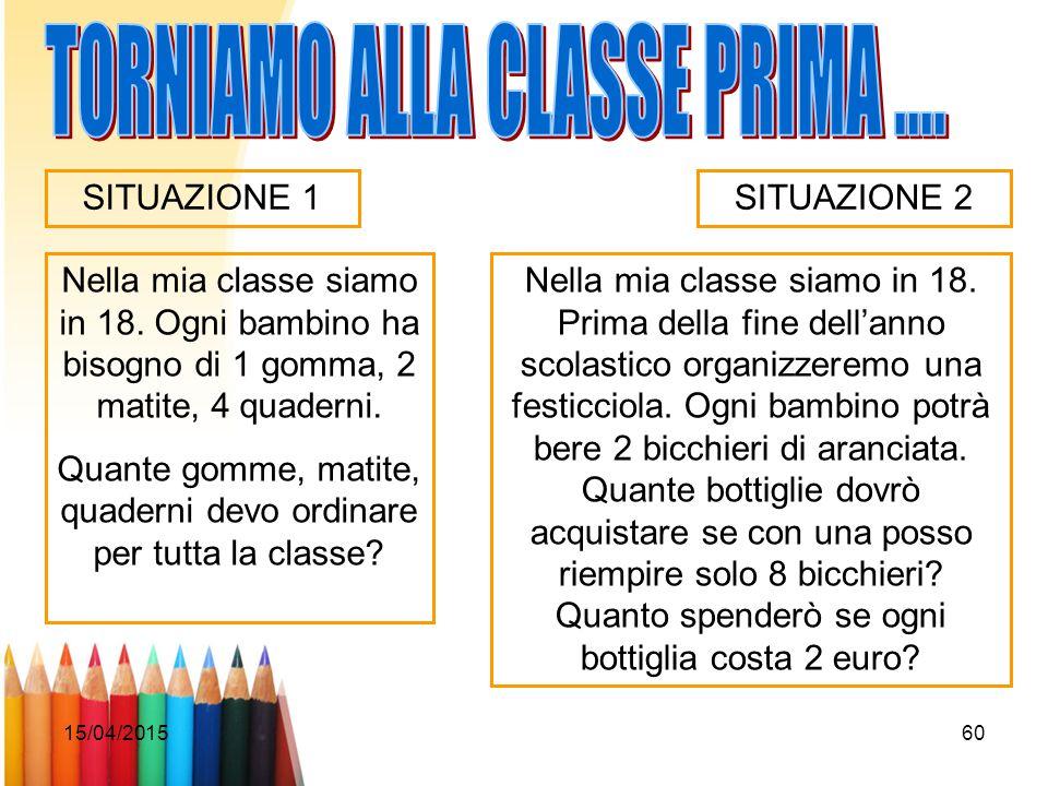 15/04/201560 Nella mia classe siamo in 18. Ogni bambino ha bisogno di 1 gomma, 2 matite, 4 quaderni. Quante gomme, matite, quaderni devo ordinare per