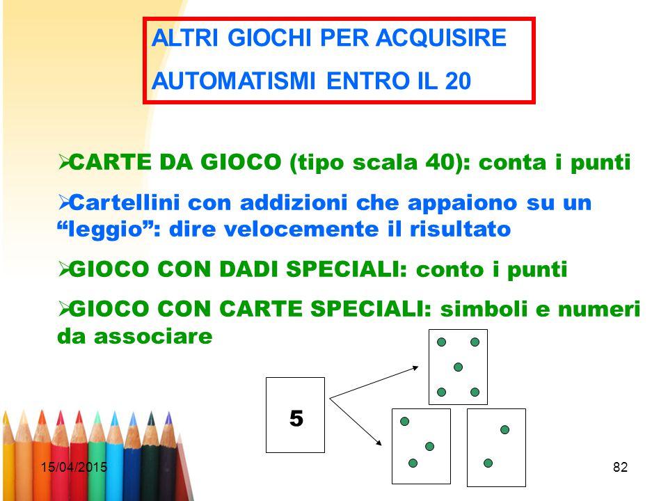 15/04/201582 ALTRI GIOCHI PER ACQUISIRE AUTOMATISMI ENTRO IL 20  CARTE DA GIOCO (tipo scala 40): conta i punti  Cartellini con addizioni che appaion
