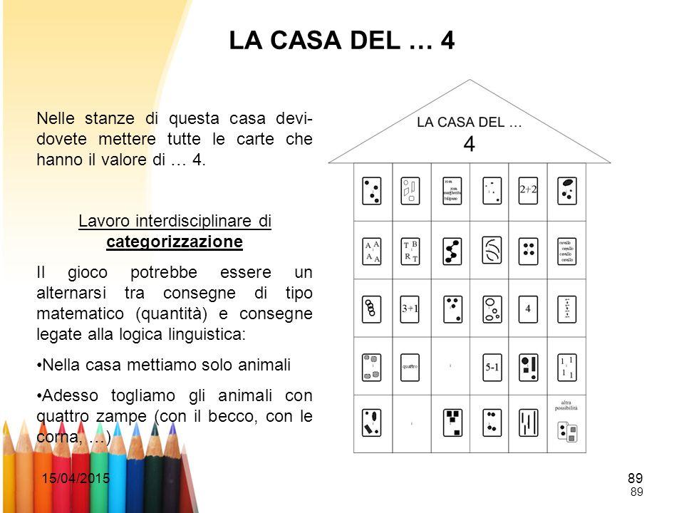 15/04/201589 LA CASA DEL … 4 Nelle stanze di questa casa devi- dovete mettere tutte le carte che hanno il valore di … 4. Lavoro interdisciplinare di c