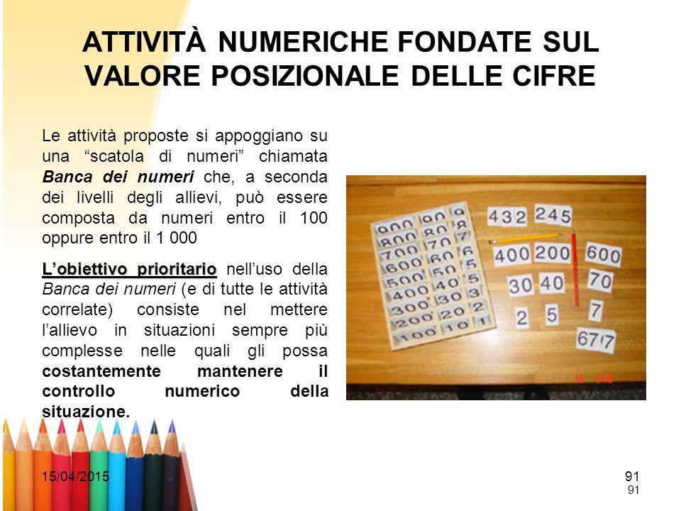 """15/04/201591 ATTIVITÀ NUMERICHE FONDATE SUL VALORE POSIZIONALE DELLE CIFRE Le attività proposte si appoggiano su una """"scatola di numeri"""" chiamata Banc"""