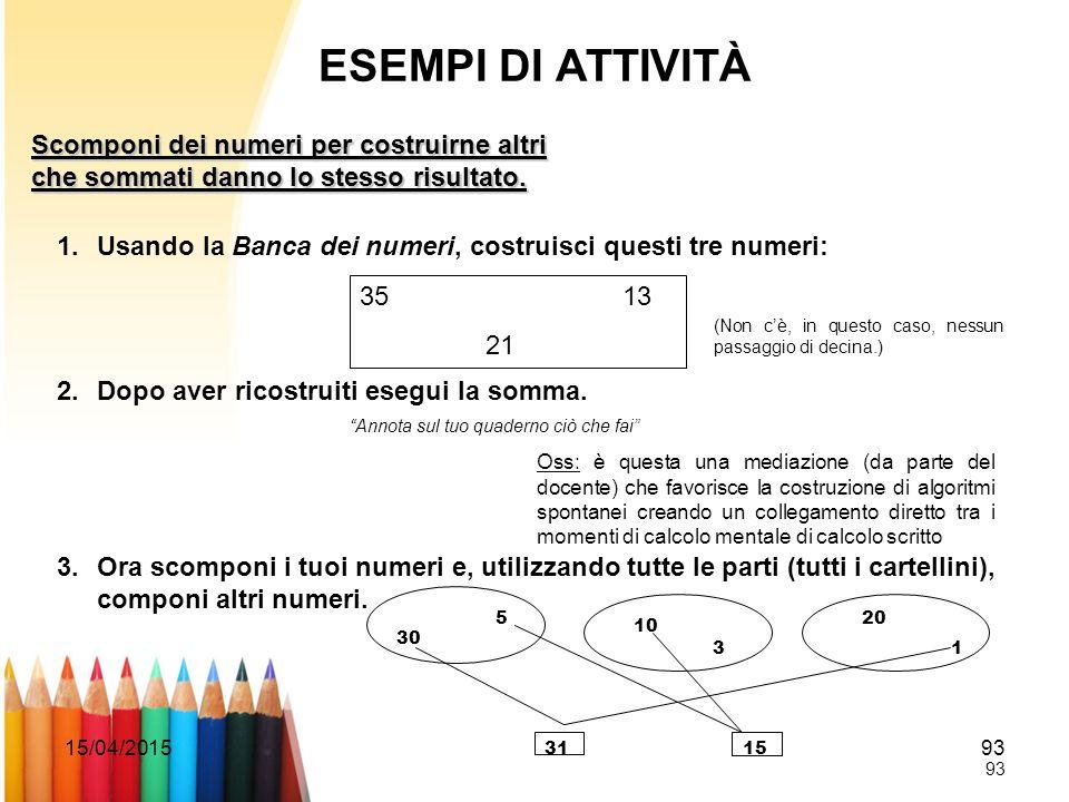 15/04/201593 ESEMPI DI ATTIVITÀ Scomponi dei numeri per costruirne altri che sommati danno lo stesso risultato. 1.Usando la Banca dei numeri, costruis