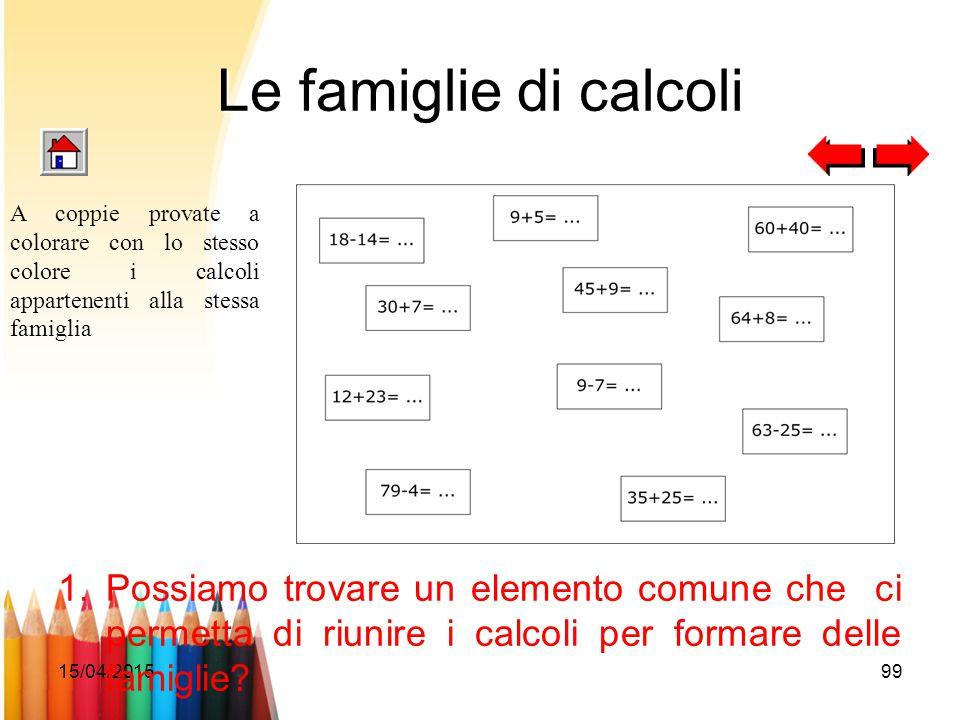 15/04/201599 Le famiglie di calcoli 1.Possiamo trovare un elemento comune che ci permetta di riunire i calcoli per formare delle famiglie? A coppie pr