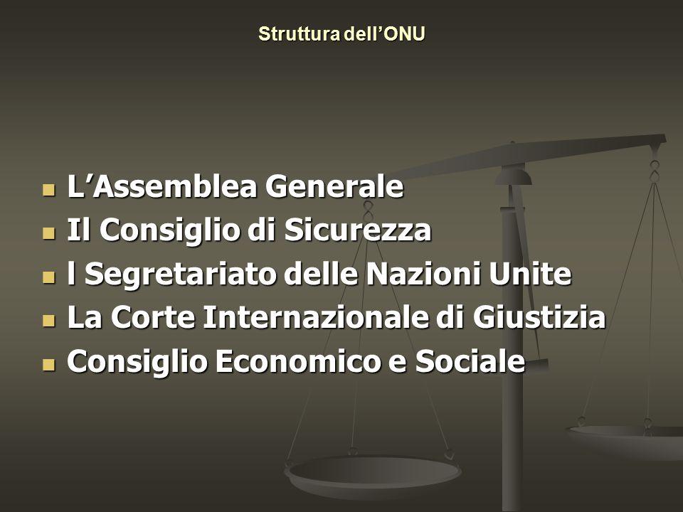 Struttura dell'ONU L'Assemblea Generale L'Assemblea Generale Il Consiglio di Sicurezza Il Consiglio di Sicurezza l Segretariato delle Nazioni Unite l