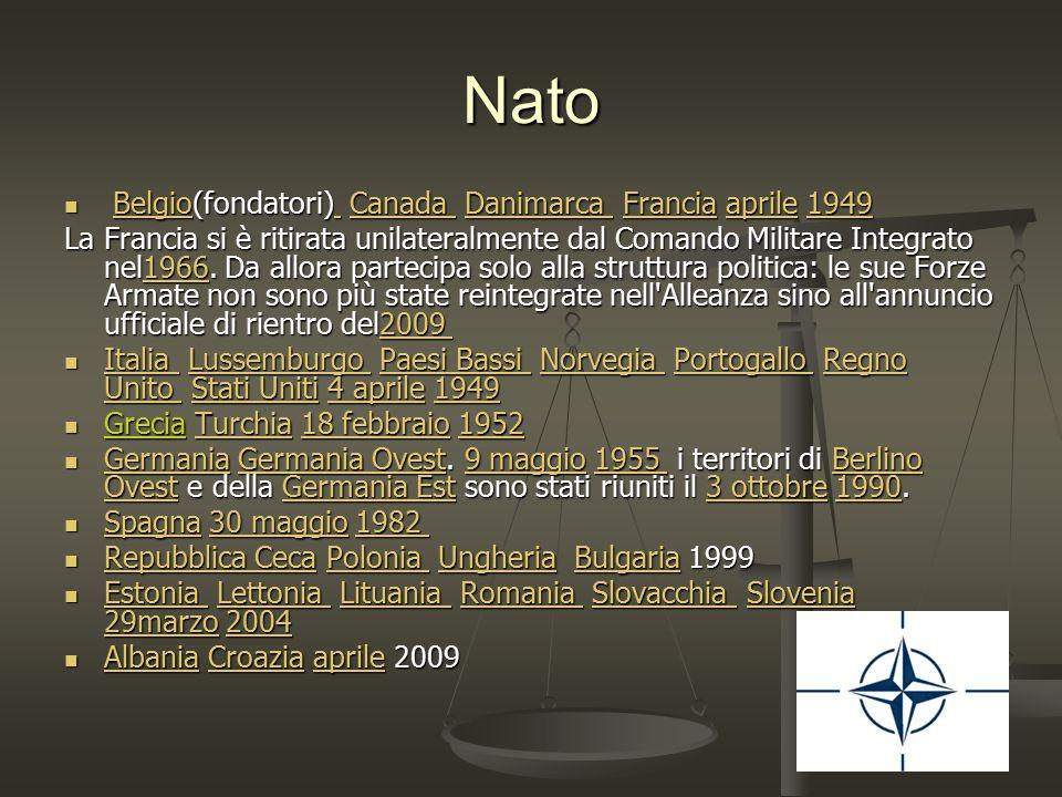Nato Belgio(fondatori) Canada Danimarca Francia aprile 1949 Belgio(fondatori) Canada Danimarca Francia aprile 1949Belgio Canada Danimarca Franciaapril
