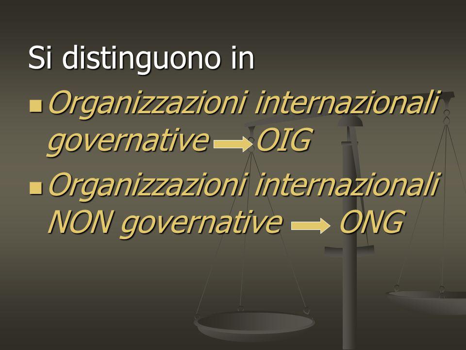 Si distinguono in Organizzazioni internazionali governative OIG Organizzazioni internazionali governative OIG Organizzazioni internazionali NON governative ONG Organizzazioni internazionali NON governative ONG