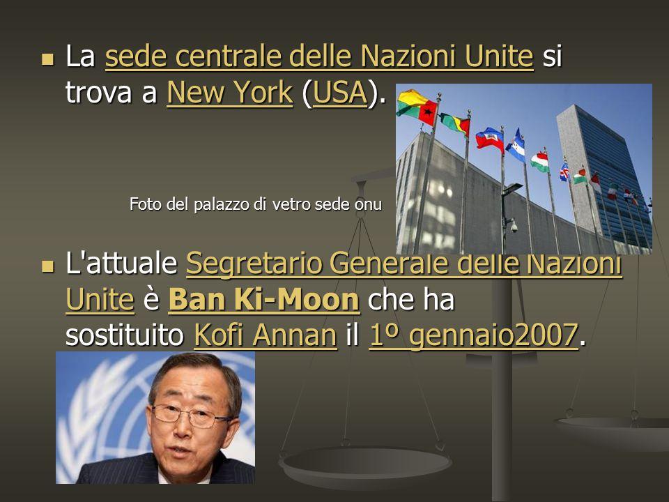 La sede centrale delle Nazioni Unite si trova a New York (USA).
