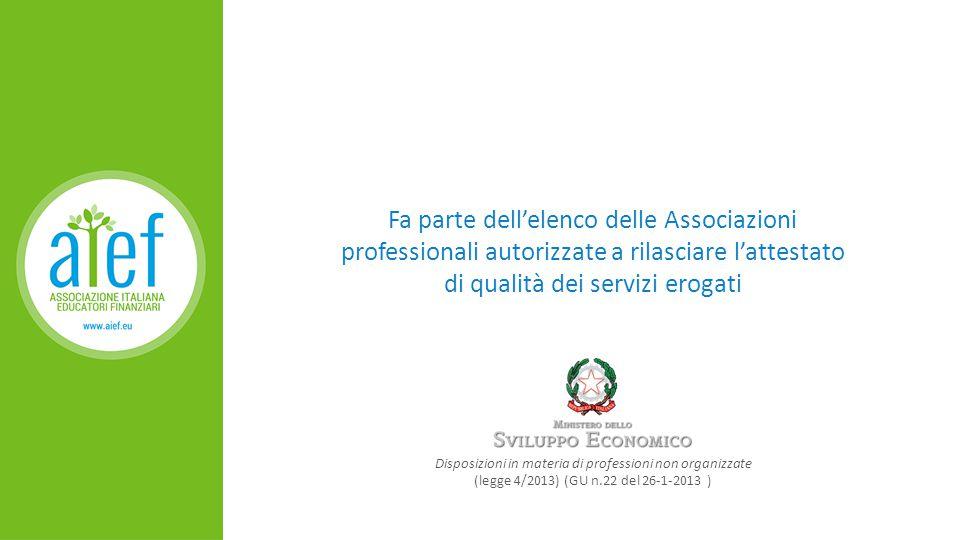 Fa parte dell'elenco delle Associazioni professionali autorizzate a rilasciare l'attestato di qualità dei servizi erogati Disposizioni in materia di professioni non organizzate (legge 4/2013) (GU n.22 del 26-1-2013 )