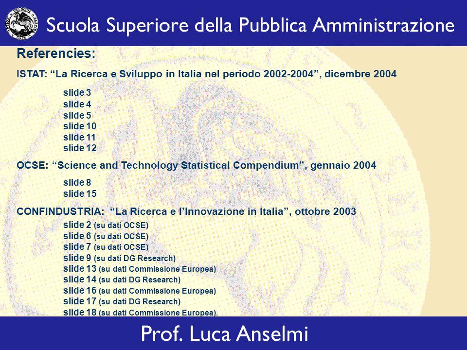 Referencies: ISTAT: La Ricerca e Sviluppo in Italia nel periodo 2002-2004 , dicembre 2004 slide 3 slide 4 slide 5 slide 10 slide 11 slide 12 OCSE: Science and Technology Statistical Compendium , gennaio 2004 slide 8 slide 15 CONFINDUSTRIA: La Ricerca e l'Innovazione in Italia , ottobre 2003 slide 2 (su dati OCSE) slide 6 (su dati OCSE) slide 7 (su dati OCSE) slide 9 (su dati DG Research) slide 13 (su dati Commissione Europea) slide 14 (su dati DG Research) slide 16 (su dati Commissione Europea) slide 17 (su dati DG Research) slide 18 (su dati Commissione Europea).