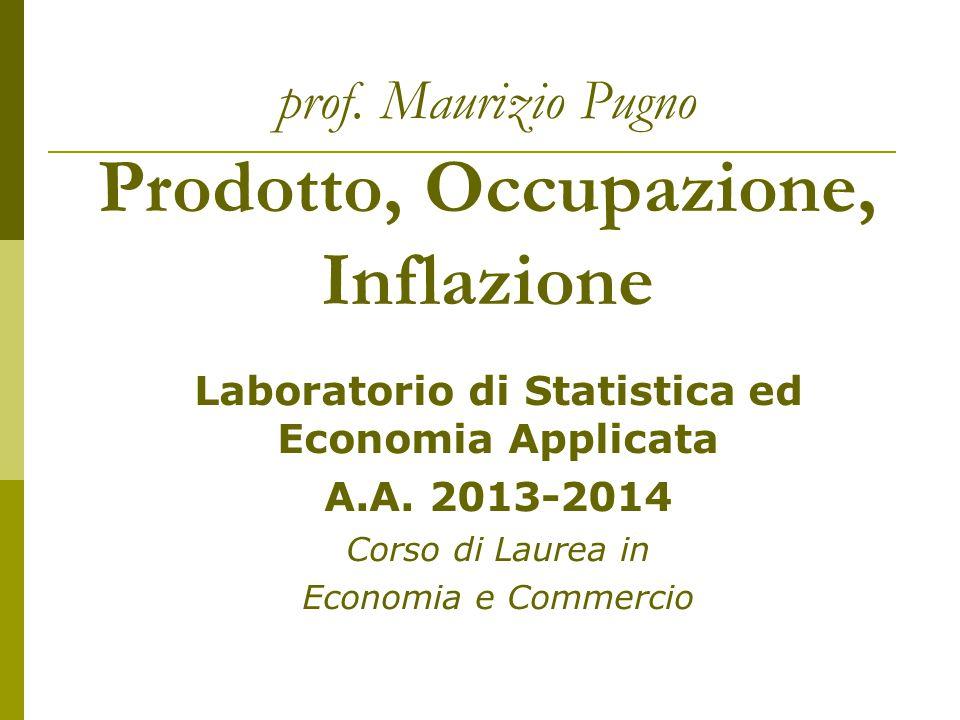 prof. Maurizio Pugno Prodotto, Occupazione, Inflazione Laboratorio di Statistica ed Economia Applicata A.A. 2013-2014 Corso di Laurea in Economia e Co
