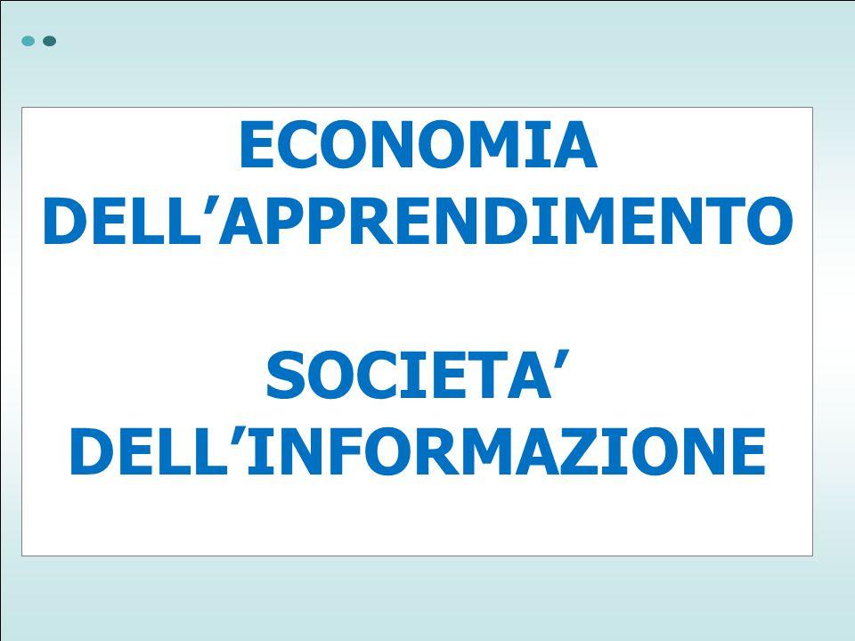 ECONOMIA DELL'APPRENDIMENTO SOCIETA' DELL'INFORMAZIONE