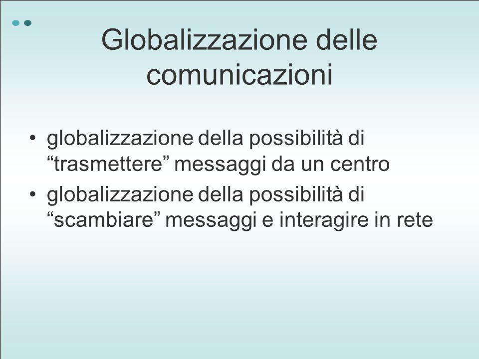 Globalizzazione delle comunicazioni globalizzazione della possibilità di trasmettere messaggi da un centro globalizzazione della possibilità di scambiare messaggi e interagire in rete