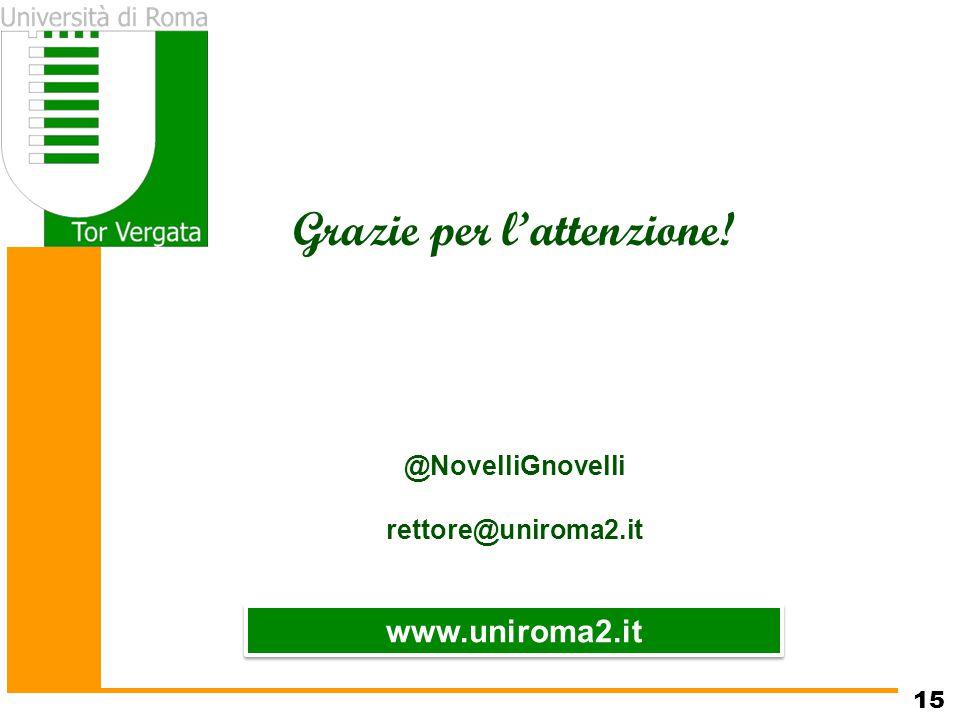 www.uniroma2.it Grazie per l'attenzione! @NovelliGnovelli rettore@uniroma2.it 15