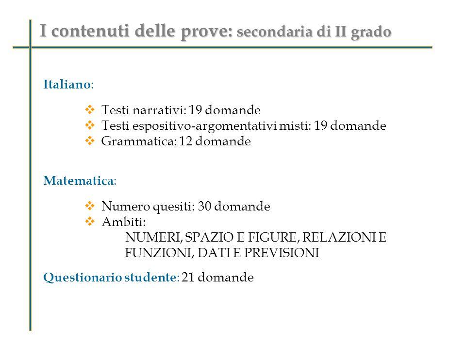 I contenuti delle prove: secondaria di II grado Italiano :  Testi narrativi: 19 domande  Testi espositivo-argomentativi misti: 19 domande  Grammatica: 12 domande Matematica :  Numero quesiti: 30 domande  Ambiti: NUMERI, SPAZIO E FIGURE, RELAZIONI E FUNZIONI, DATI E PREVISIONI Questionario studente : 21 domande