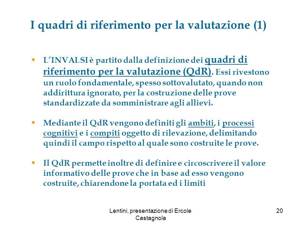 I quadri di riferimento per la valutazione (1)  L'INVALSI è partito dalla definizione dei quadri di riferimento per la valutazione (QdR).