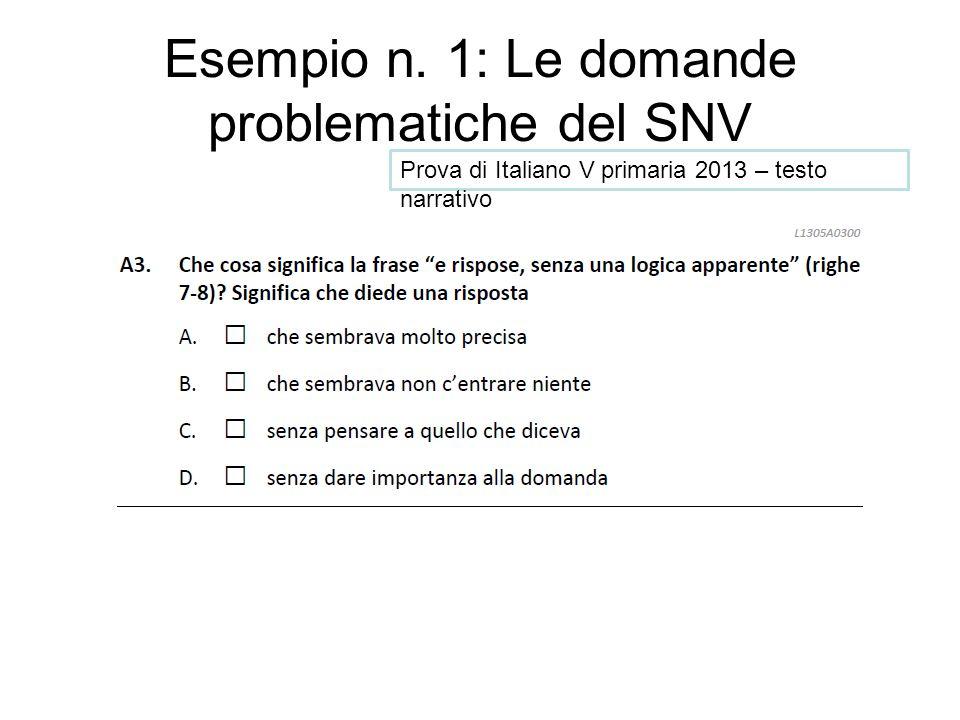 Esempio n. 1: Le domande problematiche del SNV Prova di Italiano V primaria 2013 – testo narrativo