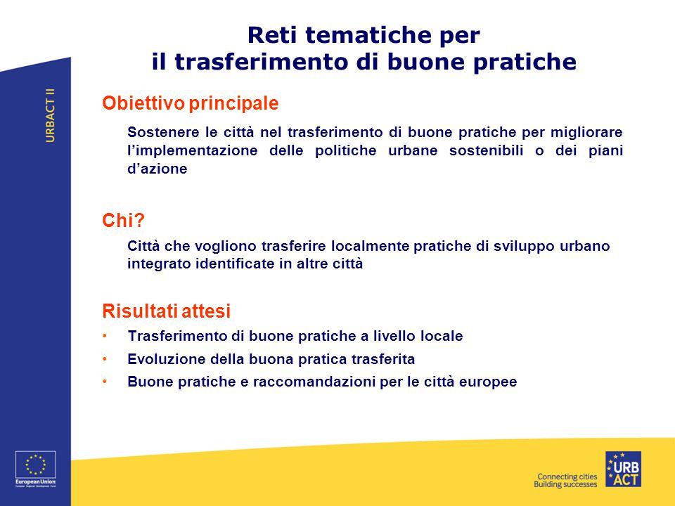 Reti tematiche per il trasferimento di buone pratiche Obiettivo principale Sostenere le città nel trasferimento di buone pratiche per migliorare l'implementazione delle politiche urbane sostenibili o dei piani d'azione Chi.