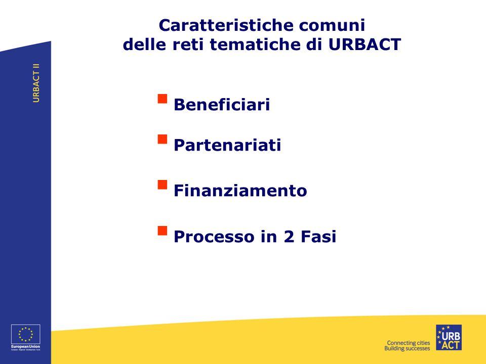Caratteristiche comuni delle reti tematiche di URBACT  Beneficiari  Partenariati  Finanziamento  Processo in 2 Fasi