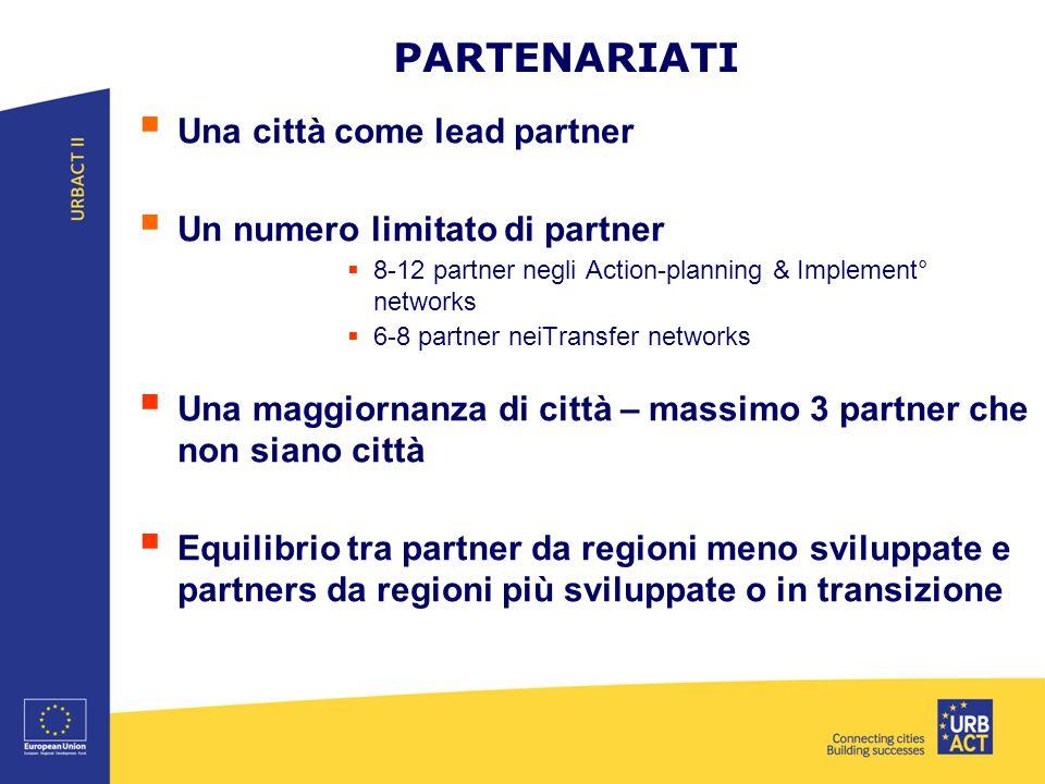 PARTENARIATI  Una città come lead partner  Un numero limitato di partner  8-12 partner negli Action-planning & Implement° networks  6-8 partner neiTransfer networks  Una maggiornanza di città – massimo 3 partner che non siano città  Equilibrio tra partner da regioni meno sviluppate e partners da regioni più sviluppate o in transizione
